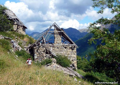 Ruins of an ancient alp along the approach