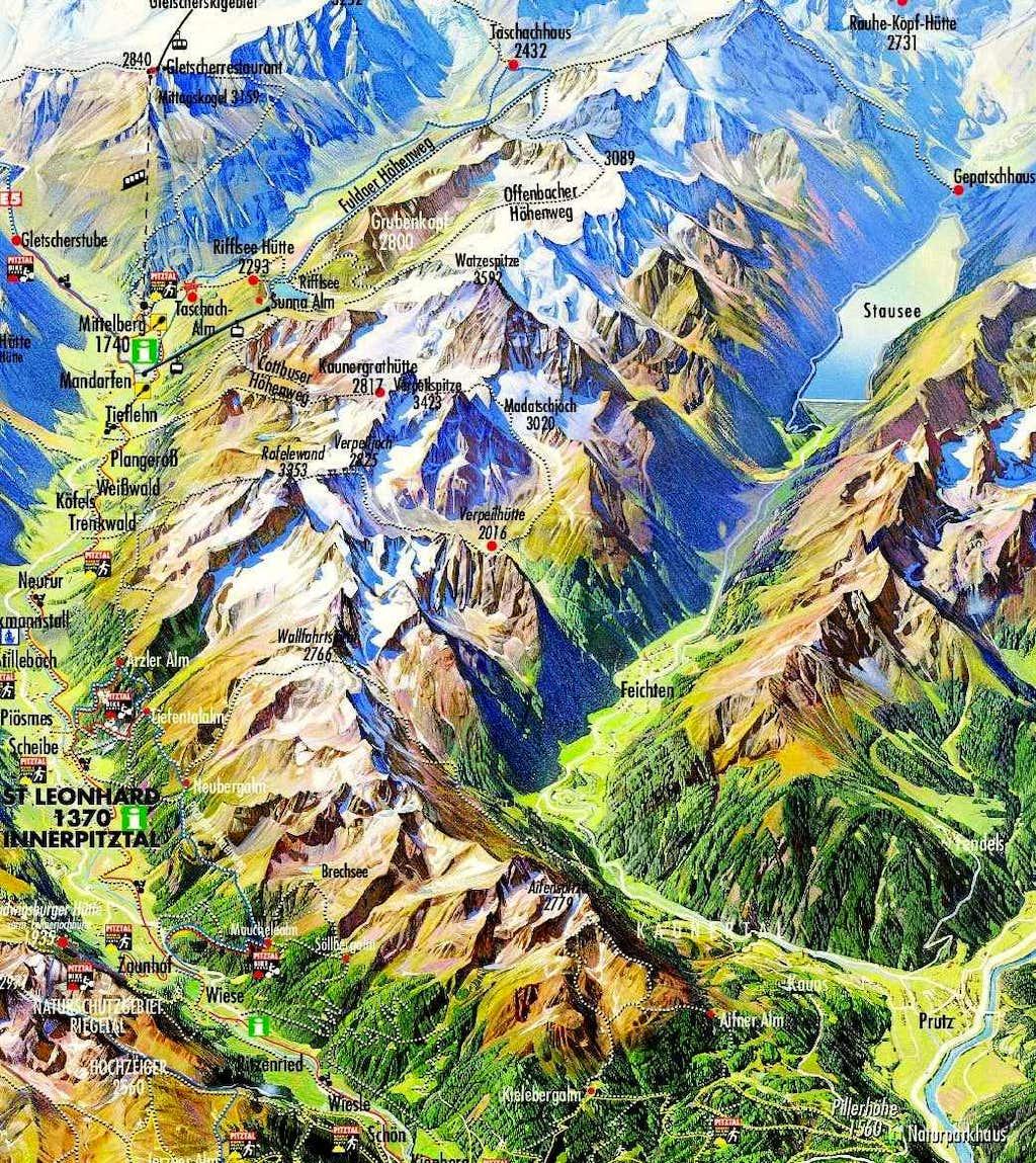 Schematic Map of the Kaunergrat Mountain Ridge