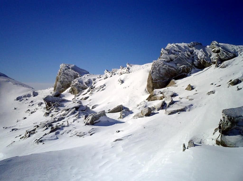 Rime ice near the summit of Monte Orsaro