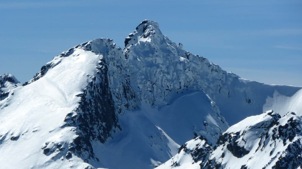 North face of Galana covered by ice