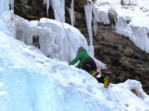 Climbing the main La Gouille icefall