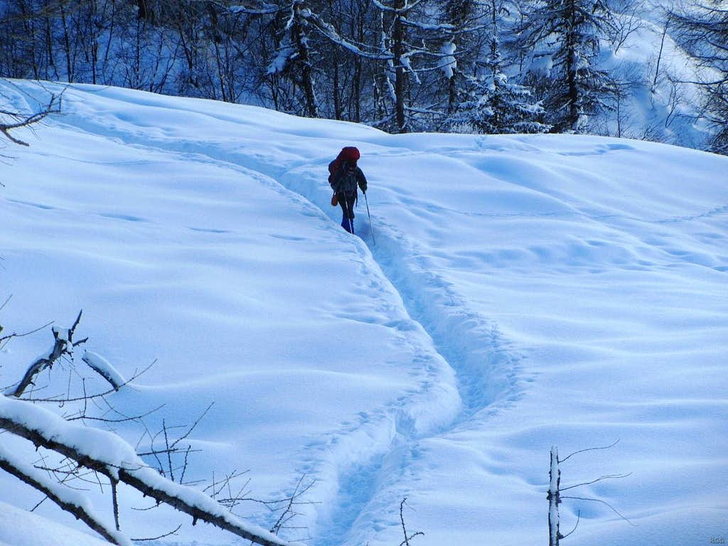 Jan arrives at the icefall at La Gouille