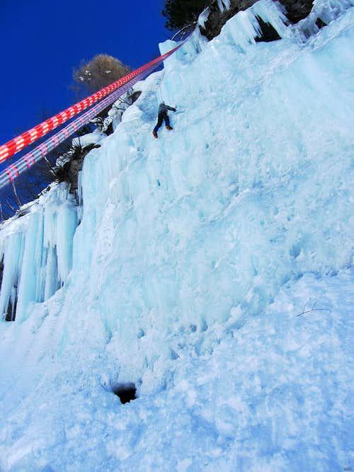 Ice climbing at La Gouille