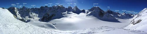 Annotated 165° panorama from just S of the Col des Vignettes