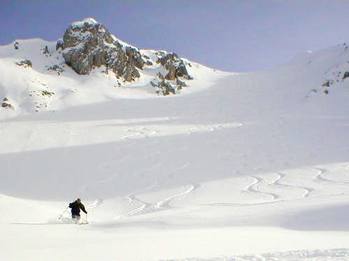 Skiing down from Monte...