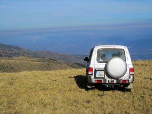 jeep at the starting point, high above the Vardar valley