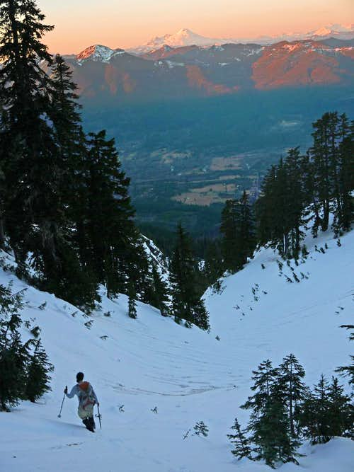 Heading Down during Alpenglow
