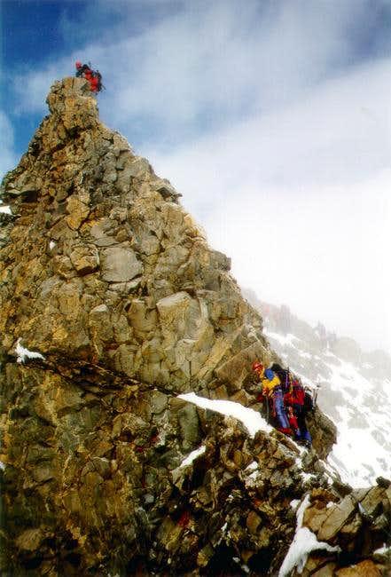 Climbing the ridge of Piz...