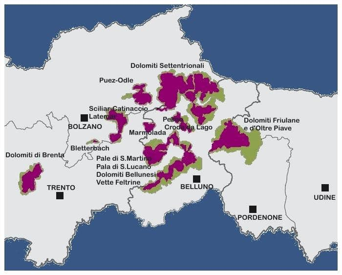 Dolomites Unesco Heritage general mapWo