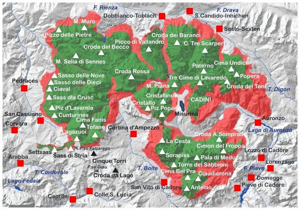 Northern Dolomites map