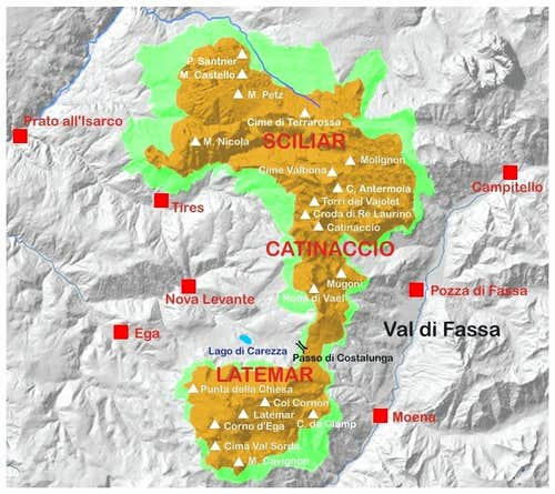 Sciliar -Catinaccio and Latemar map