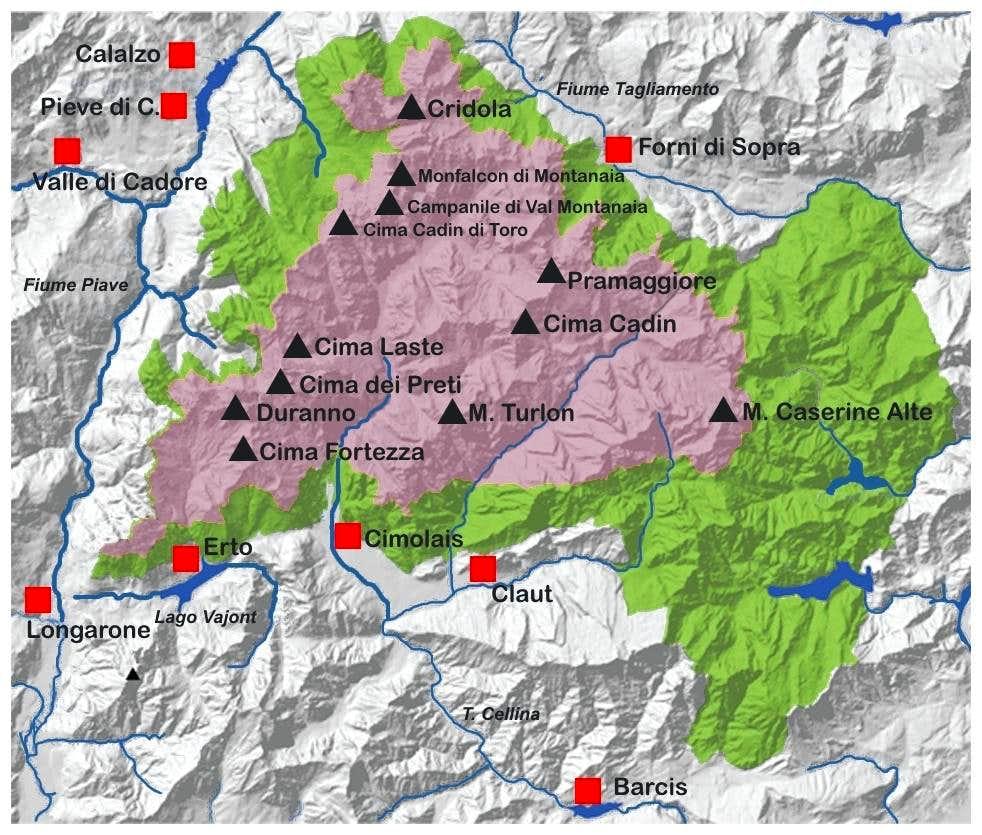 Dolomiti Friulane e d'Oltre Piave map