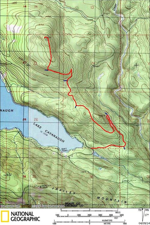 Kinsey Hill route map