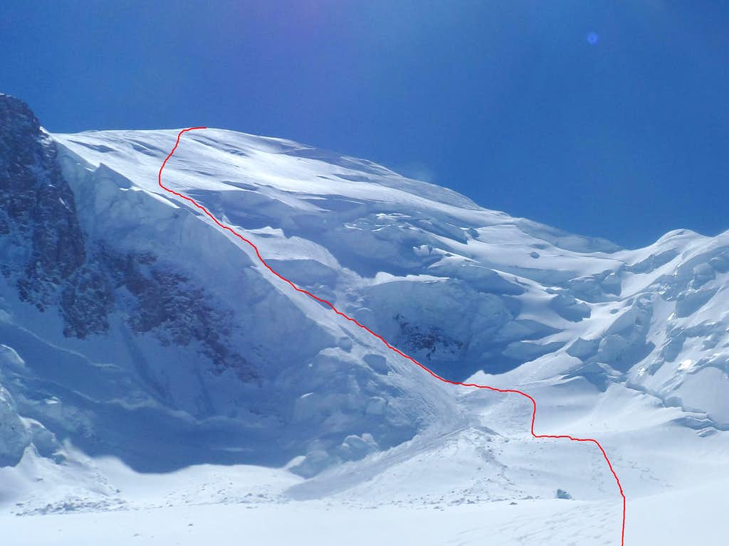Mont Blanc north face ski route