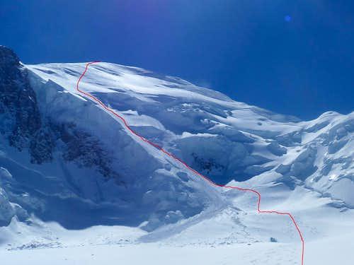 Mont Blanc north face ski route