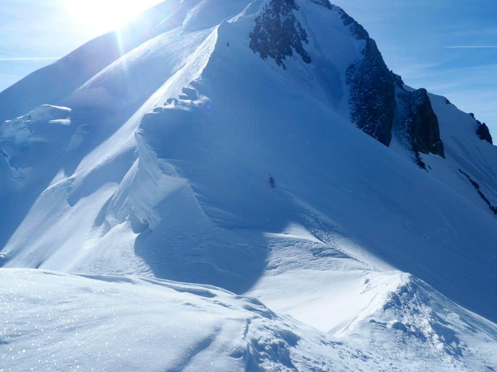 Gouter Ridge on ski's