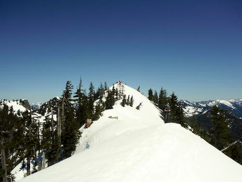 The snowy summit ridge