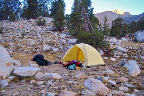 Camp and sunrise on Mt.Rixford
