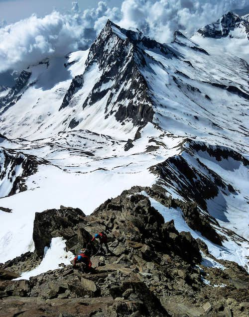 Me Climbing on the SE Ridge of Weissmies with the sharp Portjengrat behind