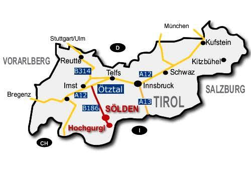 How to get there Map Obergurgl 2