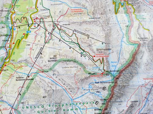 Route MAP Hinterer Wurmkogel