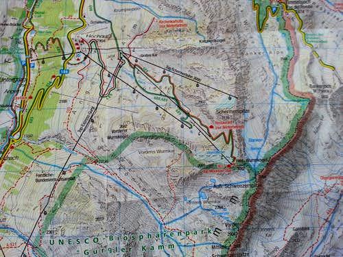 Route MAP Hinterer Wurmkogel