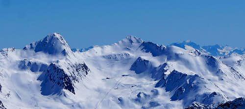 Schermerspitze, Wurmkogel and Marmolada as seen from Gaislachkogel (3052m)