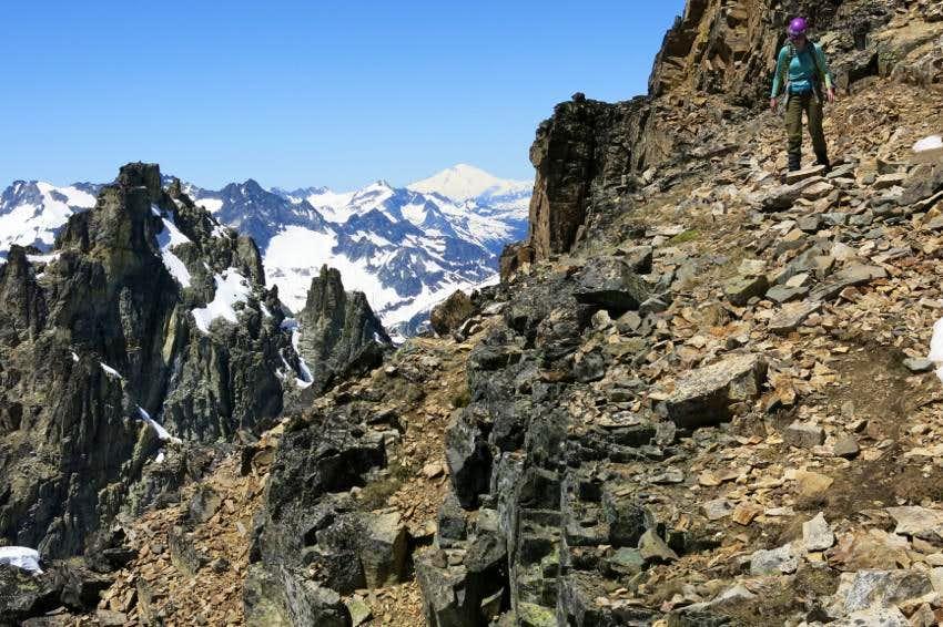 Descending Black Peak's South Ridge