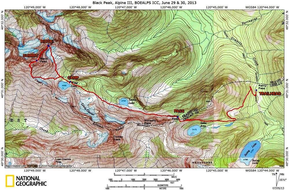 Black Peak SE Ridge Climb Map