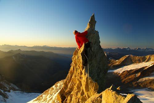 Climbing over razor on our way down via northern ridge