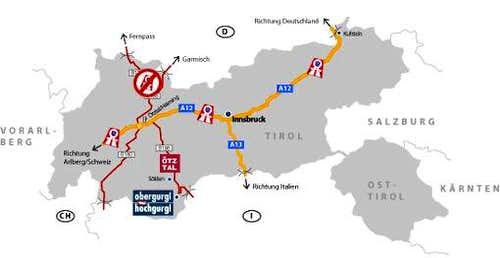 Route MAp Hochgurgl--> Wurmkogel