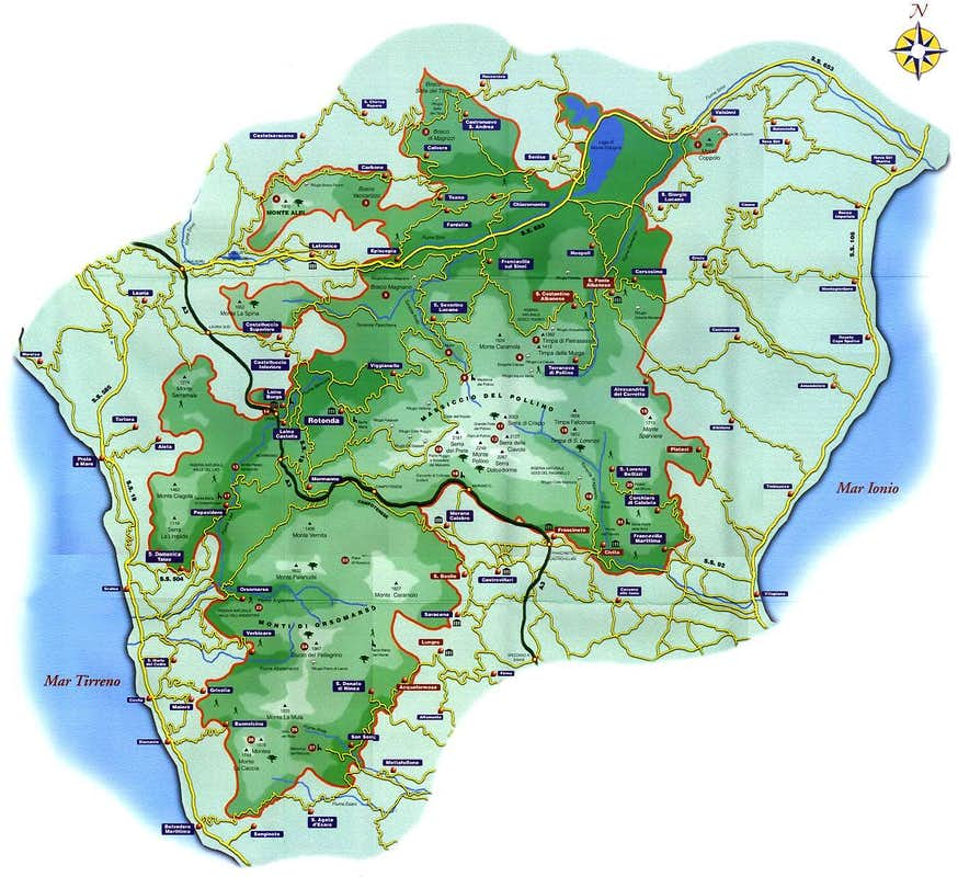 Map of the Pollino National Park