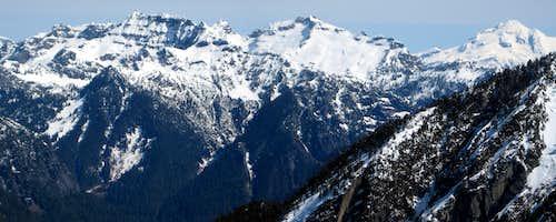Columbia Peak, Monte Cristo Peak, Kyes Peak, and Glacier Peak from Iron Mountain