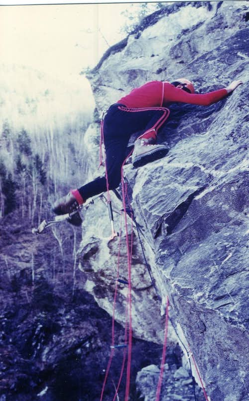 Old Climbing/3 Exit Out on slab from a small cliff 1978
