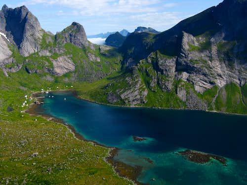 Granite peaks surrounding Kierkefjorden, Lofoten