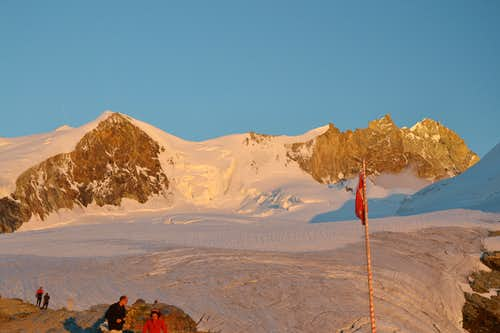 Bishorn and Weisshorn in sunset light