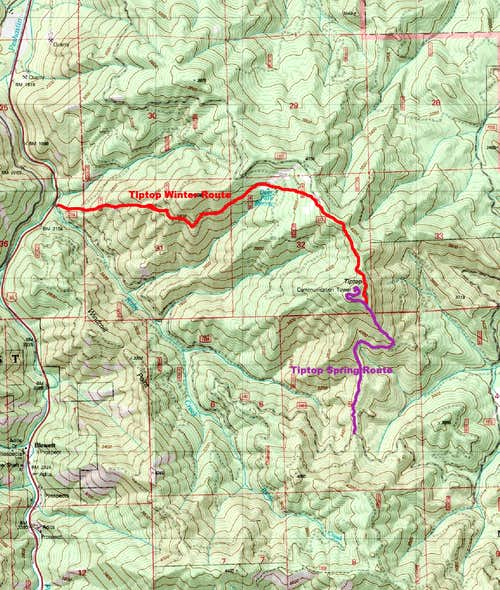Tiptop Hiking Route Map