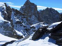 Zooming in on the Aiguilles Rouges d\'Arolla (3644m) from high on Pointe de Vouasson