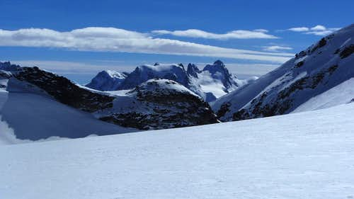 Distant view of Mont Collon and L'Eveque from the NNW, from Glacier de Vouasson