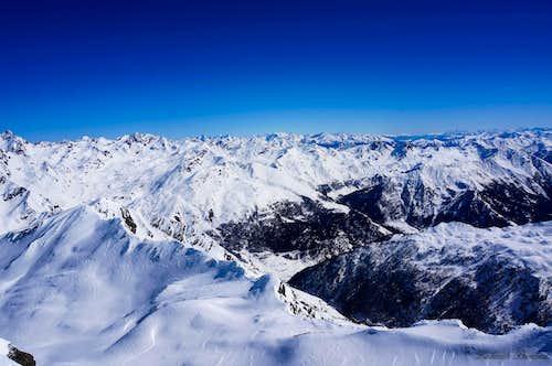 Wurmkogel |Summit veiw towards the East with Stubai Alps and Dolomites