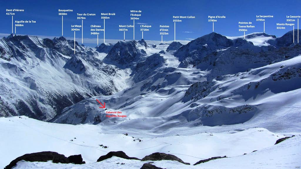 Annotated panorama of the Swiss Alps from the slopes above Cabane des Aiguilles Rouges