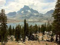 Banner Peak looming large over Thousand Island Lake