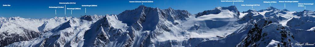 Annotated Schwarzkogel (3016m) Summit Panorama