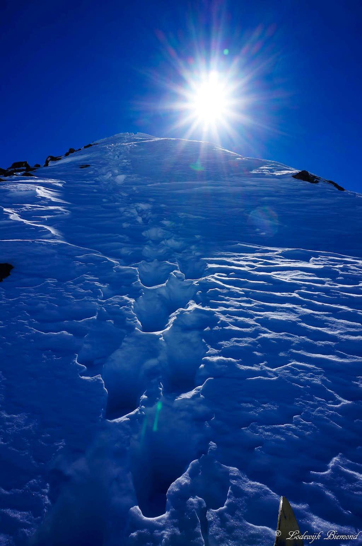 Ascending Schwarzkogel: The steep part