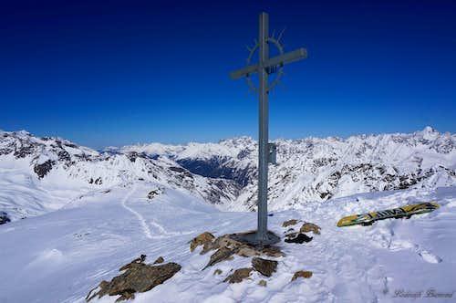 At the summit of Schwarzkogel (3016m)