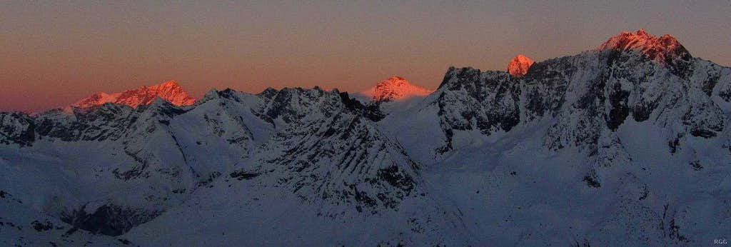 Alpenglow on Bishorn and Weisshorn, Grand Cornier, Dent Blanche and Dent de Perroc