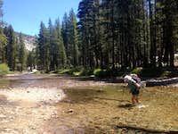 Stream crossing at Evolution Meadows. Feels so good!