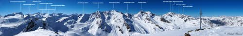 Annotated Geigenkamm Panorama from Schwarzkogel (3016m)