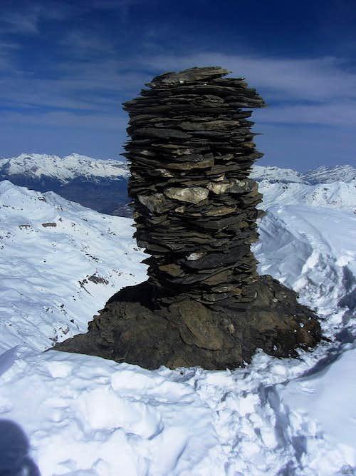 Huge cairn on the summit of Mont de l'Etoile