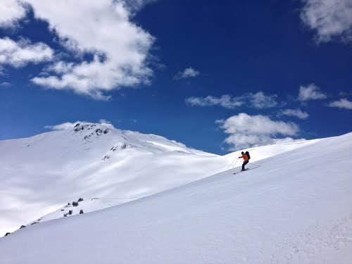 Skiing into Prospect Gulch